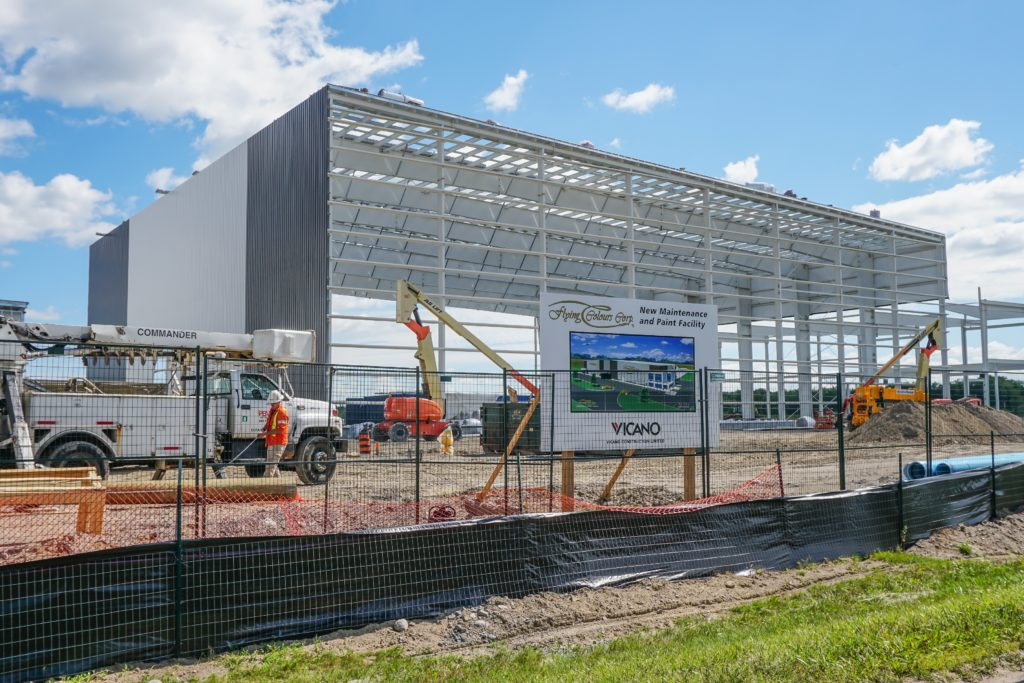 Two 50,000-square-foot hangars are being built in Peterborough to handle aircraft painting and maintenance work. Together, they represent a $25 million investment in the company's Canadian headquarters. Lisa Gordon Photo