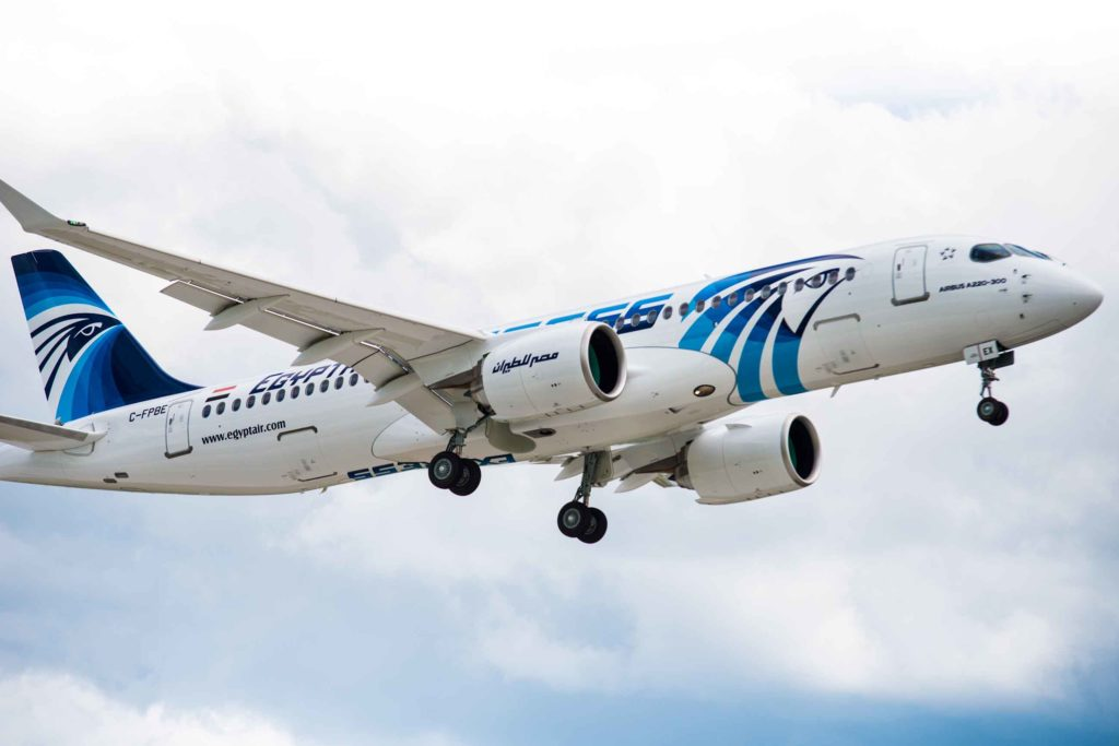 EGYPTAIR's brand new A220-300 is configured in a two-class cabin with 140-seats including 15 premium economy and 125 economy class seats, offering every passenger a greater level of comfort and space. Airbus Photo