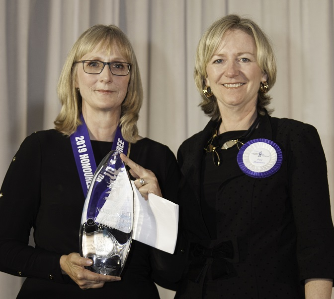 Kathrine Stewart, RCMP, Government Award, presented by, Mary Ellen Pauli, 2012 recipient. Andy Cline Photo