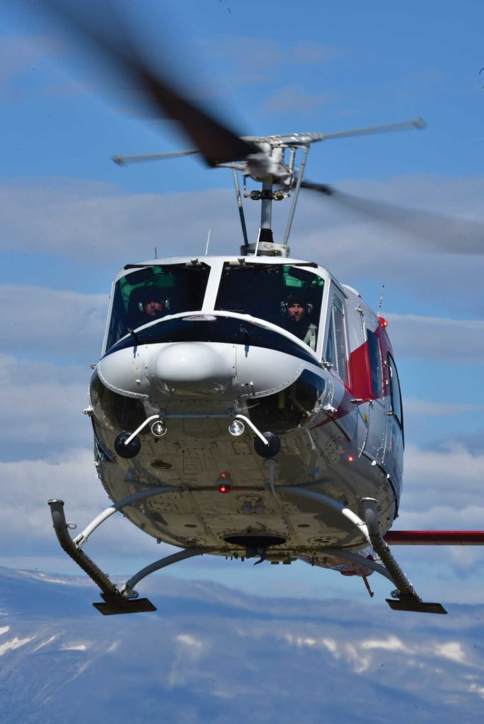 A Bell 212 flies in the Torngat Mountains in northern Labrador. According to Maple Leaf Helicopters, the type is currently available at a good rate. Mike Reyno Photo