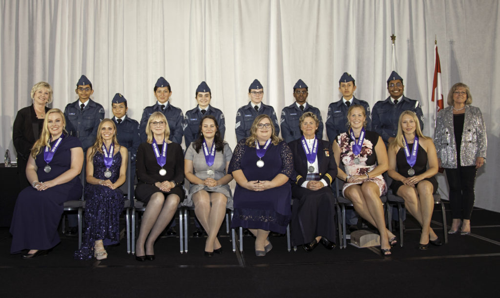 Pictured here (R to L): Dr. Suzanne Kearns, Education, Maj Alexia Hannam, RCAF, Flight Operations, Kathrine Stewart, Government, Taylor Williams, accepting the Business Award for mother Wendy Taylor, Lyndsey Poynter, Engineering, Capt Mary Cameron-Kelly, RCAF, Pioneer, Lauren Egglestone, Rising Star, Dr. Joelle Thorgrimson, Rising Star, Joy Parker Blackwood, President, Elsie MacGill Northern Lights at the gala event on the evening of Sept. 28. Andy Cline Photo