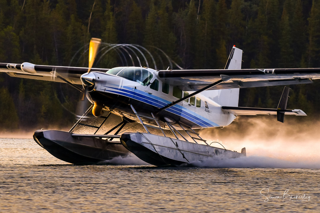 The Texas Turbines conversion engine and Hartzell propeller combo slice out the moisture as this Alkan Aviation Ltd. Cessna 208 Caravan departs Schwatka Lake. Photo submitted by Simon Blakesley (Instagram user @simon_blakesley) using #skiesmag.