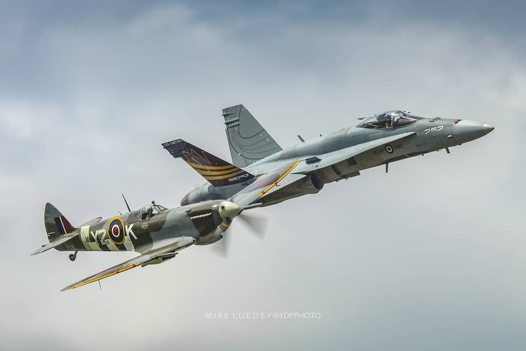 RCAF Heritage Flight during Aero Gatineau-Ottawa featuring a Mk IV Spitfire flown by Col Chris Hadfield alongside a CF-18 Hornet flown by Capt Brian Kilroy. Photo submitted by Mike Luedey (Instagram user @ydpphoto) using #skiesmag.