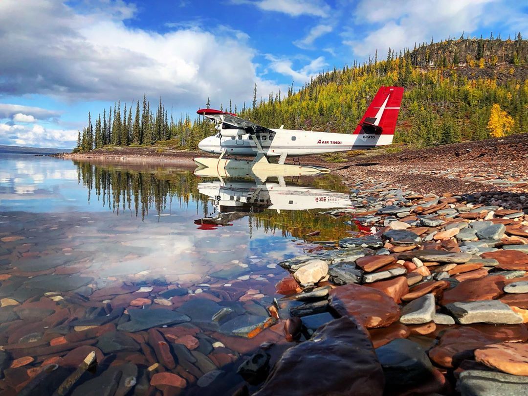 An Air Tindi de Havilland Canada DHC-6 Twin Otter sits on the banks of Great Slave Lake in the Northwest Territories. Photo submitted by Instagram user @thatotterdude using #skiesmag.