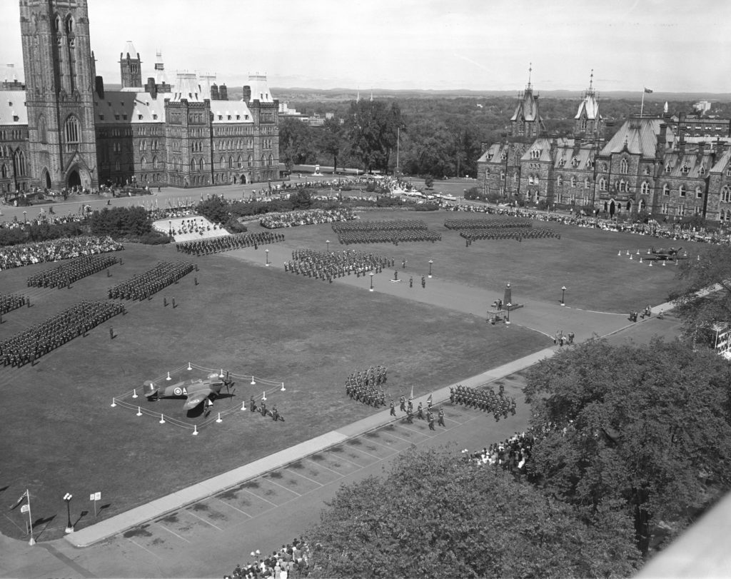 An aerial view of the 1960 Battle of Britain parade on Parliament Hill in Ottawa. RCAF Photo