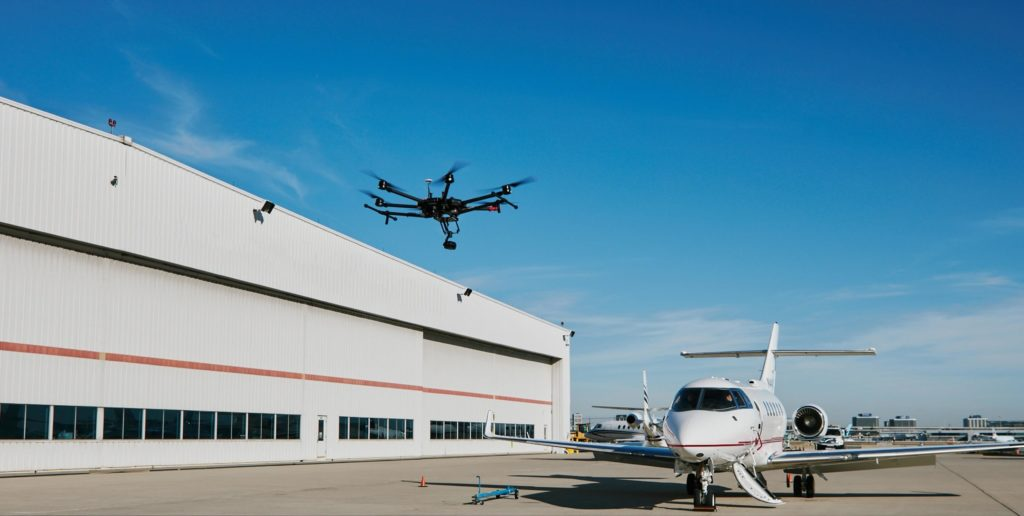 A Sugu Canada drone conducts a maintenance inspection. The company has tailor-made drone solutions for aircraft operators in the corporate, narrow- and wide-body aircraft categories. Sugu Canada Photo