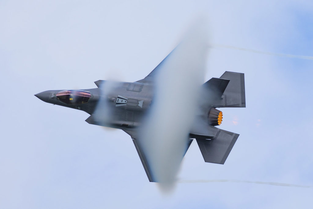 High-speed top side pass from the F-35 Lightning II. Eric Dumigan Photo
