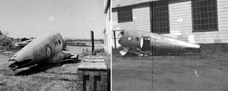 Two photographs of the rear fuselage of Delta 673 after it was airlifted from the New Brunswick bush in 1969 to what is now the Canadian Aviation and Space Museum in Ottawa. Canada Aviation and Space Museum Photo