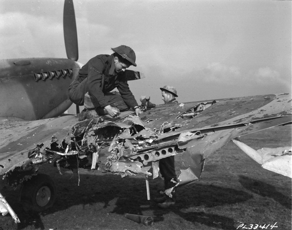 Out of 1,173 aircraft at the beginning of Market Garden, 932 were damaged or destroyed. RCAF Photo