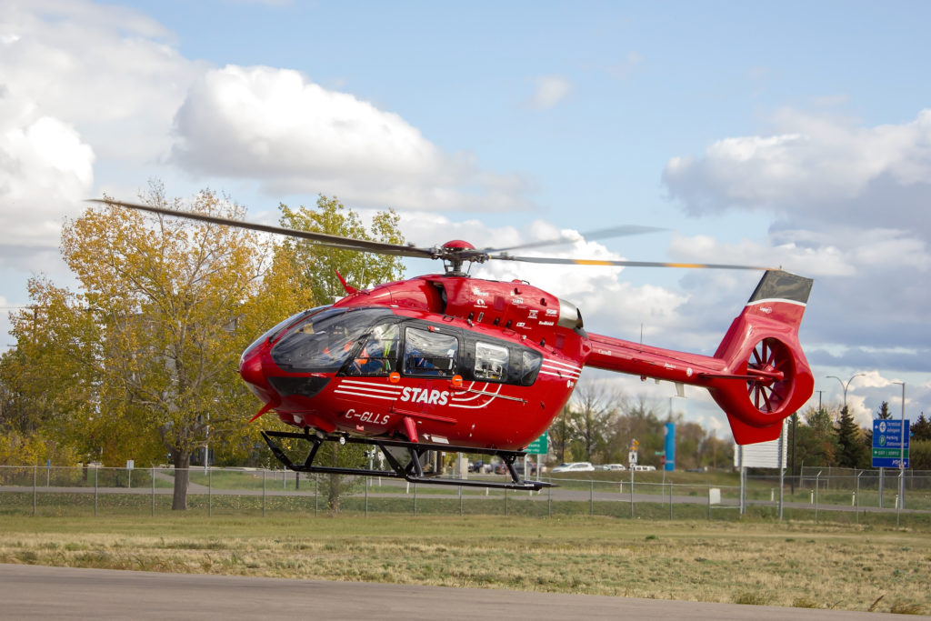 STARS' Airbus H145, arrives at the Saskatoon STARS base. This is the first new helicopter for the YXE base, and the third delivered to the STARS fleet. Colin Kunkel Photo