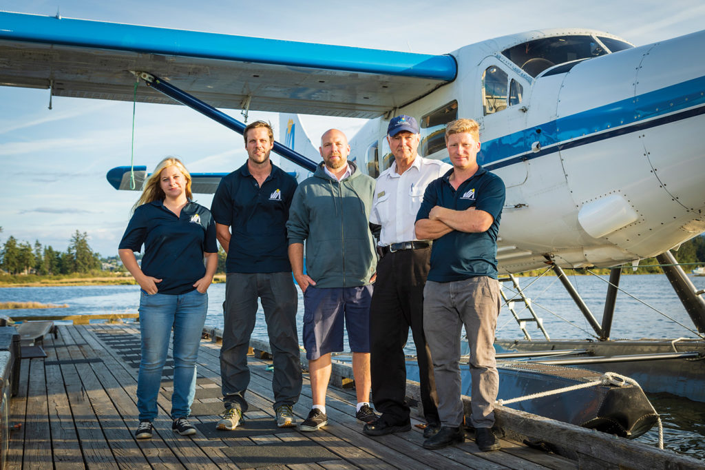 The Vancouver Island Air/Aerotech Industries Ltd. staff includes (L-R) Marlena Niforos, technical sales specialist; Richard Davey, AME/pilot; Steve Crerar, chief pilot; Larry Langford, owner/pilot; and Josi Billinghurst, person responsible for maintenance and part owner. Heath Moffatt Photo