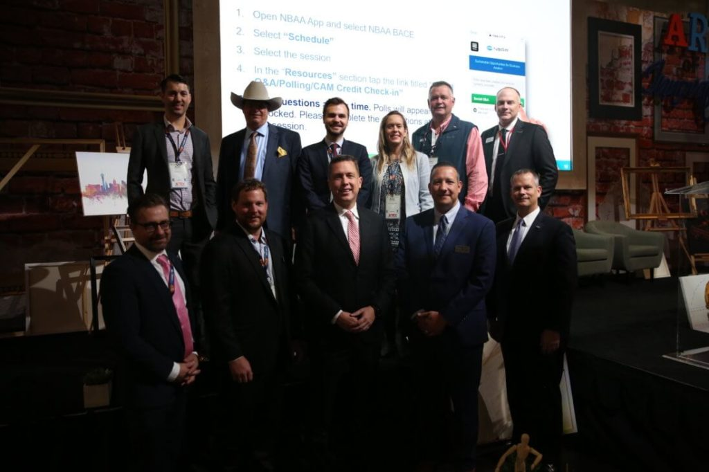 "The 11 presenters at NBAA's Business Aviation Convention and Exhibition who presented new products to a crowd at the ""Innovation Zone"". NBAA Photo"