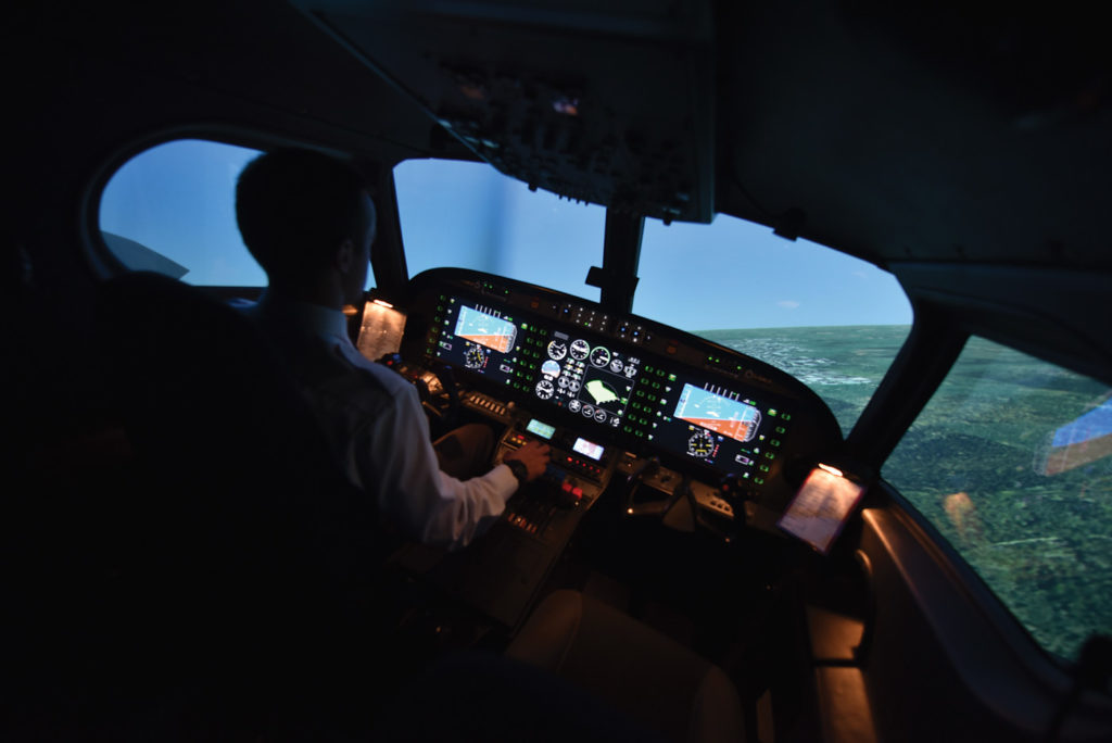 Flight simulators have come a long way. Today, they provide a realistic alternative for practising rarely-flown manouevres or complicated instrument procedures. Mike Reyno Photo