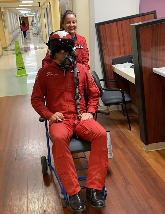 Domon-Grenier being discharged from the hospital on the same day as the crash; he was unhurt. Snowbirds Photo