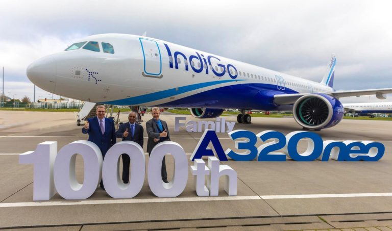 Michael Menking (left), head of the A320 family program, Airbus, stands with Rono Dutta (centre), chief executive officer of IndiGo and Michael Culhane (right), senior vice-president of New Aircraft, CDB Aviation Lease Finance. Airbus Photo