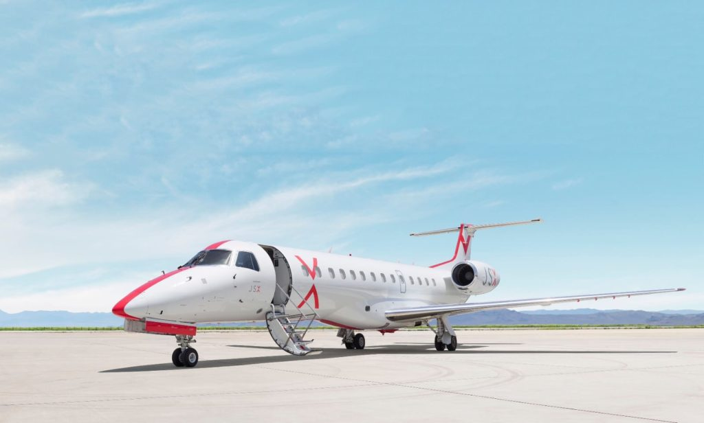 The companies own and operate an all-Embraer fleet of 34 aircraft. JSX Photo