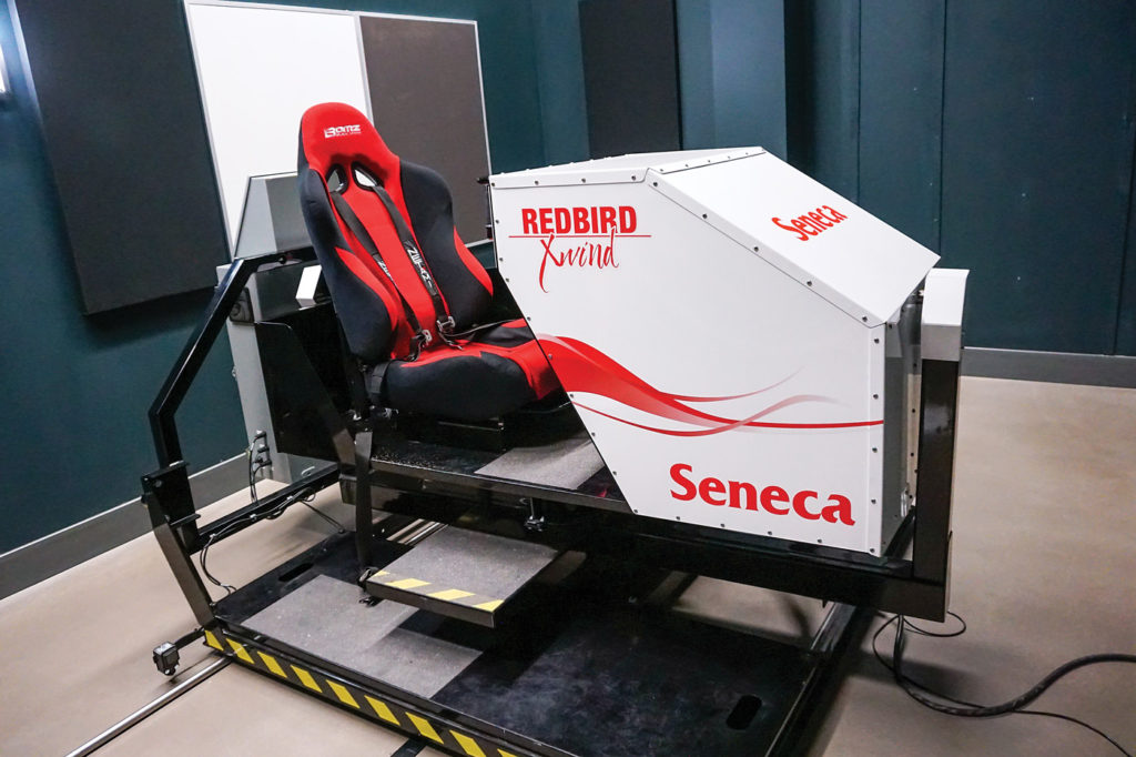 Redbird has filled out its product line with a range of simulators, including the unique Xwind crosswind trainer. Shown here is the unit operated by Seneca College at its Peterborough, Ont., aviation campus. Lisa Gordon Photo