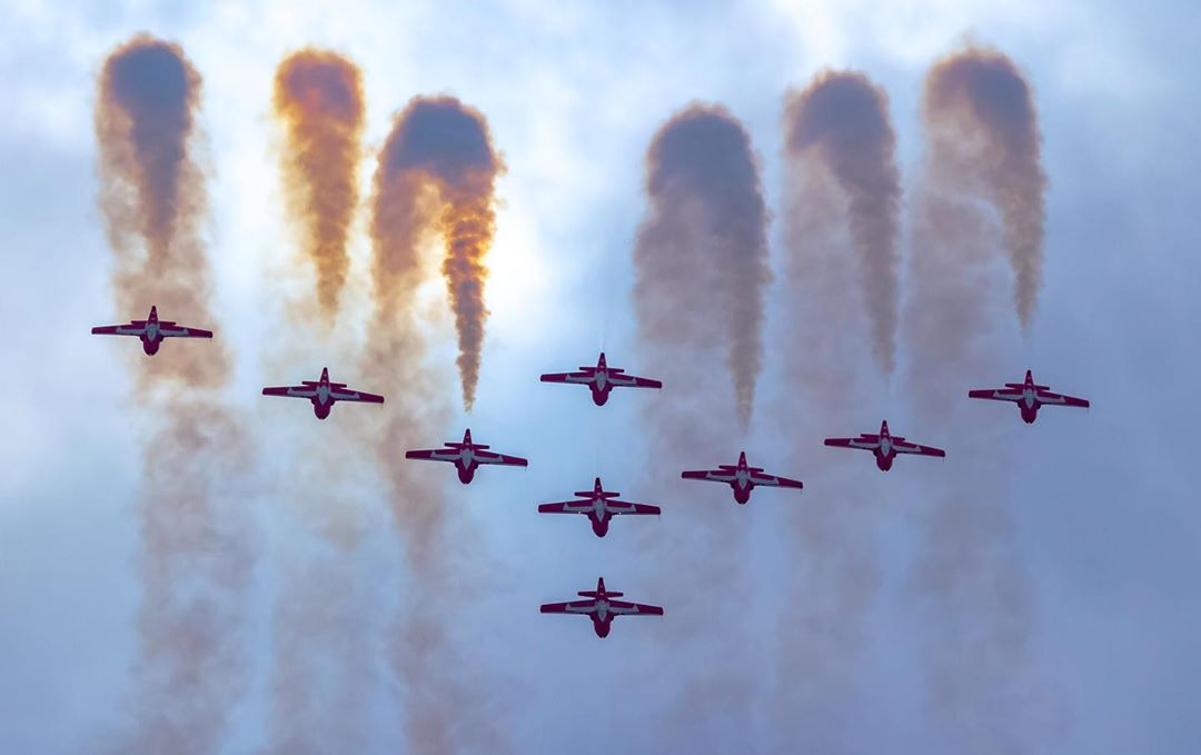It takes great timing to capture a moment like this of the CAF Snowbirds formation flying during a performance at the Peterborough Airshow. Photo submitted by Pat Lalande (Instagram user @yvrspotterxrcaf) using #skiesmag.