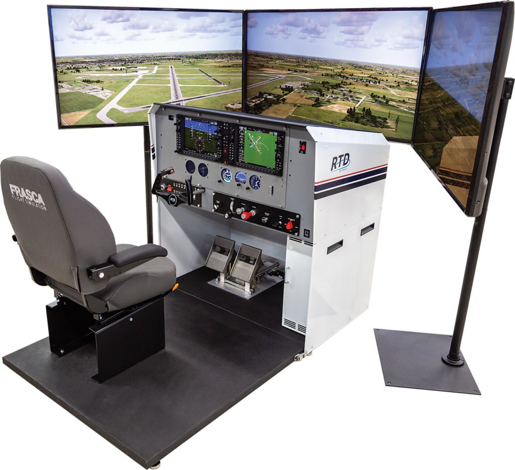 With more than 2,700 simulators sold in 70-plus countries, Frasca International is well known for its training devices. Shown here is the RTD (Reconfigurable Training Device), an entry-level unit that incorporates actual flight test data with real Garmin avionics software. It can be changed from analog to glass cockpit and from single- to twin-engine. Frasca Photo