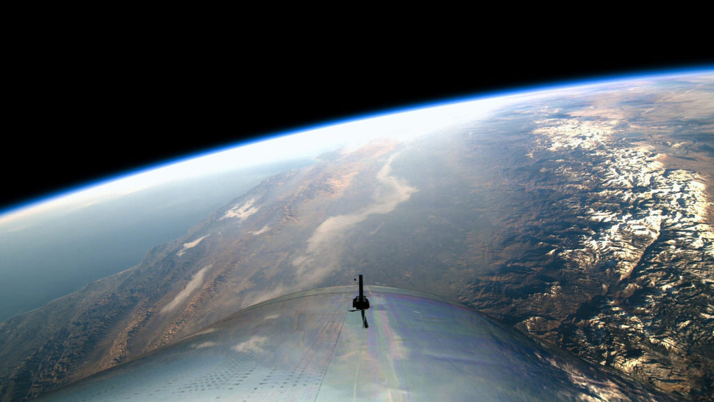 A view of Earth from space on Virgin Galactic's first spaceflight. Virgin Galactic Photo