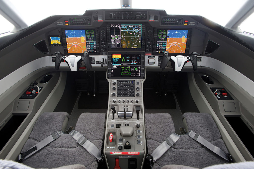 Certified for single pilot operations, the PC-24's Advanced Cockpit Environment is driven by Honeywell's Primus Epic 2.0 integrated avionics, featuring four 12-inch high-performance colour liquid crystal displays. Pilatus Photo