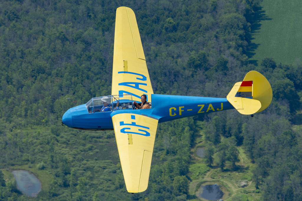 It is finished as it looked in 1948 while at Queens University Gliding Club, wearing U.S. Army Air Force trainer yellow and blue markings with Canadian registration CF-ZAJ. Eric Dumigan Photo