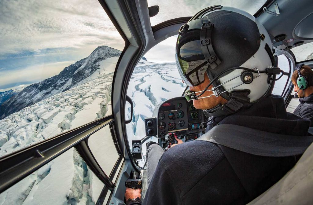 Blackcomb Helicopters pilot Steve Gray flies an EC130 near the Cheakamus Glacier in the Garibaldi Provincial Park. Heath Moffatt Photo