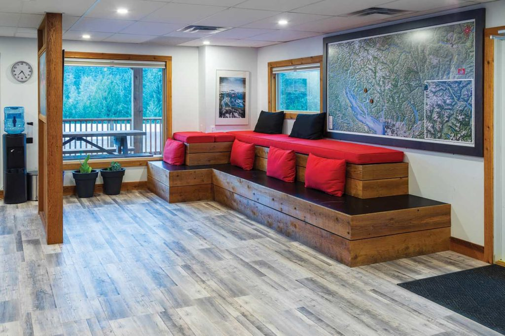 In keeping with the mountain location, the lobby area has the feel of an alpine cabin, with plenty of space for guests to relax and mingle. Heath Moffatt Photo