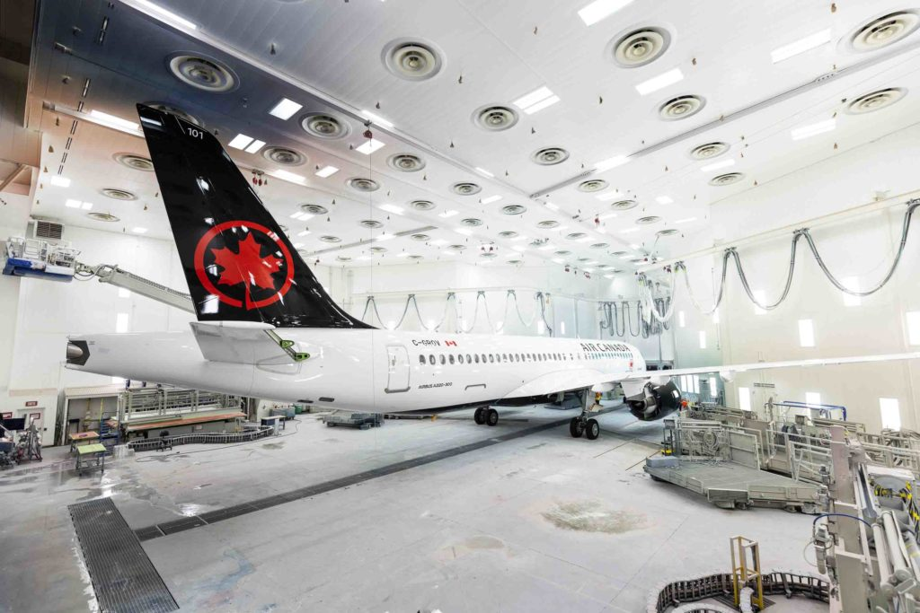 The first Airbus A220-300 for Air Canada on Nov. 7, 2019, rolling out of the painting hangar at the A220 final assembly plant in Mirabel, Que. Airbus Photo