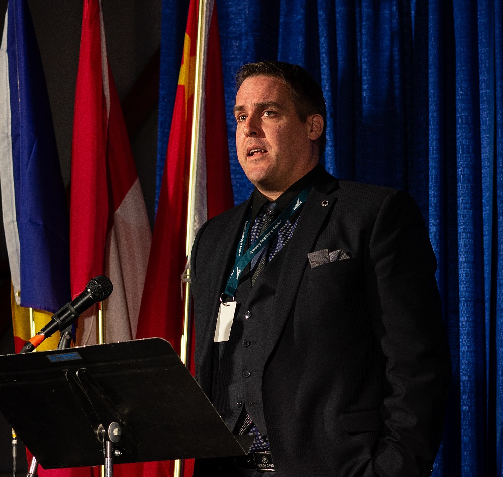 Avmax CEO Mark Maydaniuk welcomed guests to the Nov. 26 delivery ceremony in Calgary for the company's two new Viking Series 400 Twin Otters. Avmax Photo