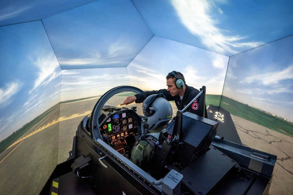 The upgraded training simulators are already benefiting students as they provide more realism in the synthetic environment and have enabled training tasks such as formation flying and tactical scenarios. CAE Photo