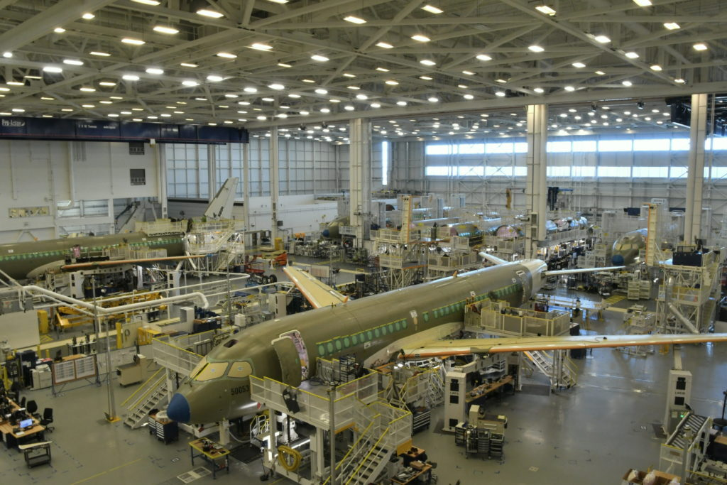 The A220 family is assembled at Airbus' main final assembly line in Mirabel (shown here) and, more recently, at the program's second assembly line in Mobile, Ala. Frederick K. Larkin Photo