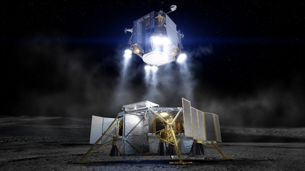 Following exploration of the lunar surface by astronauts, the crew lifts off from the moon inside the Ascent Element in this artist concept. The Descent Element remains on the moon having already performed its role of flying the crew from lunar orbit to the surface. Boeing Image