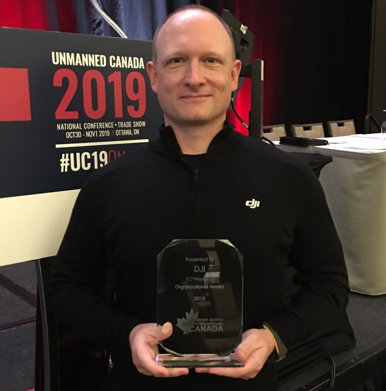 Romeo Durscher, DJI's director of public safety integration, at #UC19Ottawa to receive the award in person. UTC-STC Photo