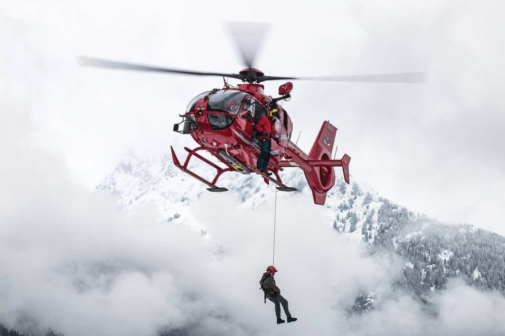 Blackcomb's hoist-equipped EC135 T2 can be used for rescues of workers from industry customers, and the company has also been approved to use the hoist for powerline work by BC Hydro. Blackcomb Photo