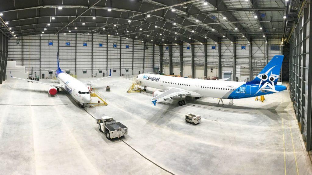 Air Transat was the first customer at KF Aerospace's newly expanded Hamilton facility earlier this year. KF Aerospace Photo