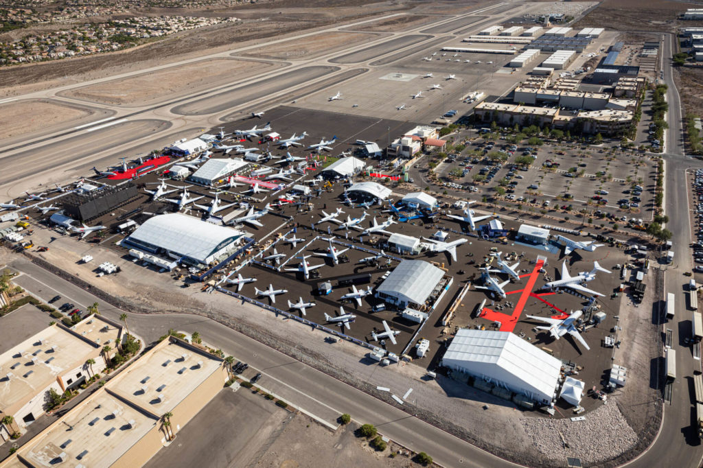 Many of the business aircraft that flew to NBAA-BACE 2019 in Las Vegas used some form of sustainable aviation fuel for the flight. NBAA Photo