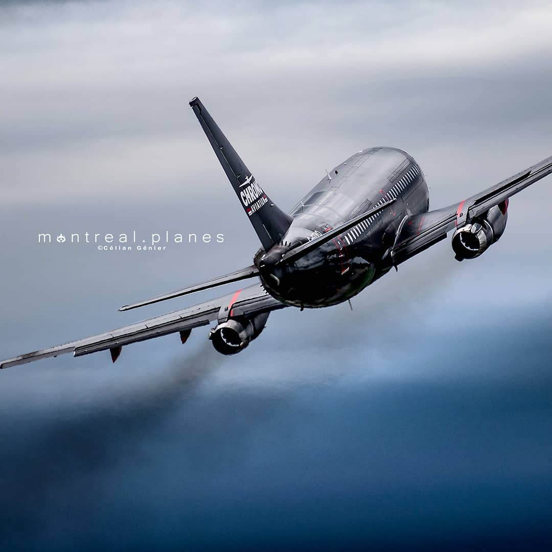 Chrono Aviation's Boeing 732 taking off into the grey skies above Montreal Saint-Hubert Longueuil Airport. Photo submitted by Celian Genier (Instagram user @montreal.planes) using #skiesmag.