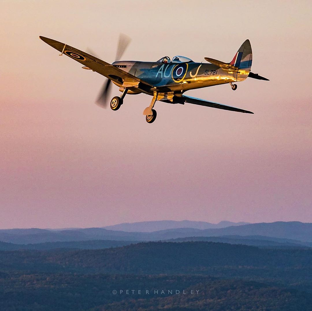 A Spitfire is bathed in evening light as it cruises over Gatineau-Ottawa. Photo submitted by Peter Handley (Instagram user @phdcreative) using #skiesmag.