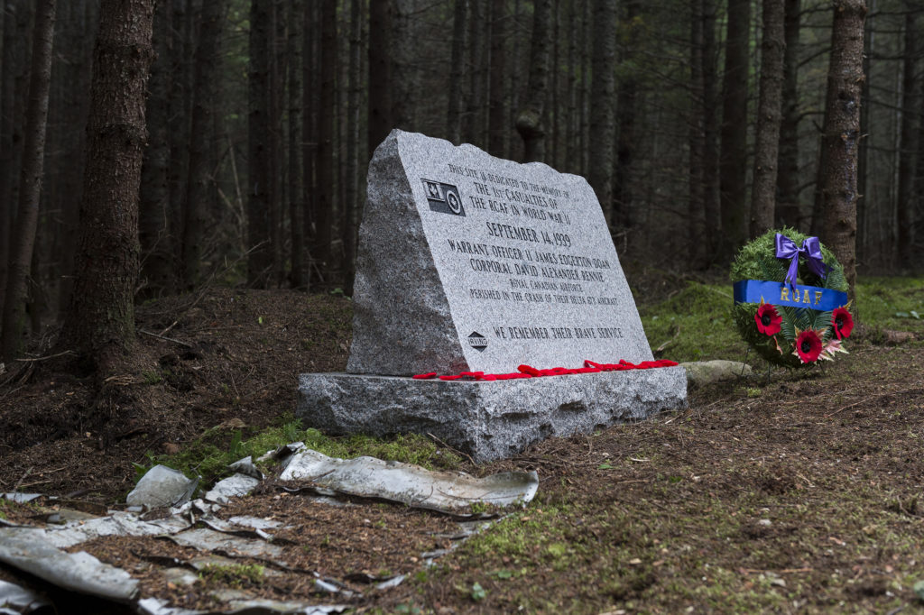 Pieces of Northrop Delta 673 remain at the crash site near Plaster Rock, N.B. A new monument, unveiled on Sept. 14, 2019, exactly 80 years after the crash, commemorates the two airmen who died in the crash near Plaster Rock, N.B., WO2 James Edward Doan and Cpl David Alexander Rennie. Cpl Nicolas Alonso Photo