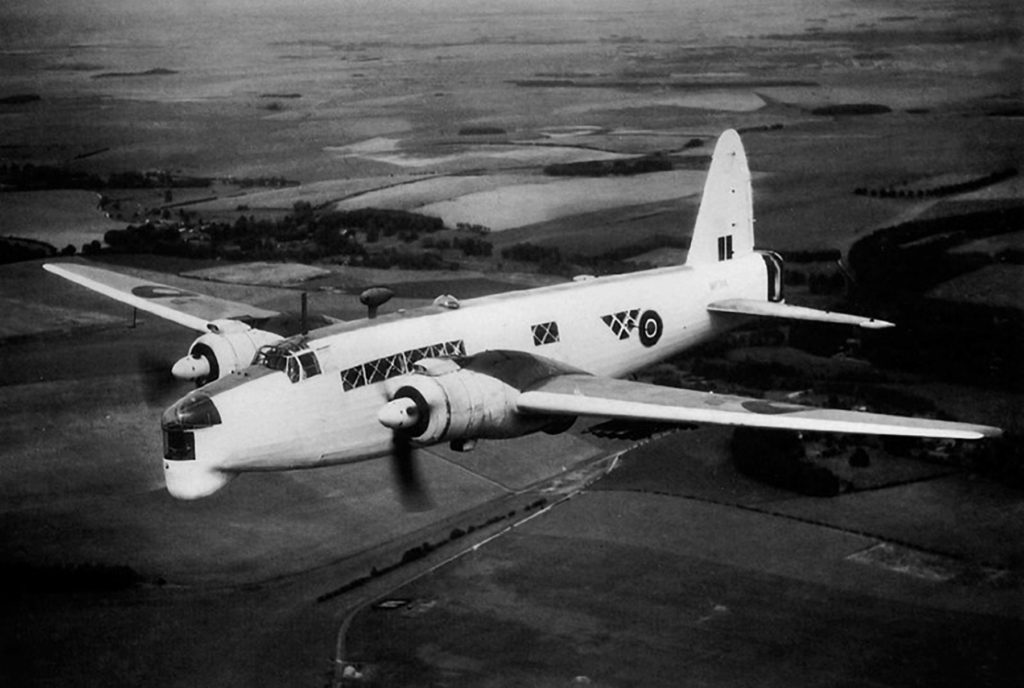 A Vickers Armstrong Wellington GR Mk XIV bomber similar to the one that crashed-landed in Norway on Sept 26, 1944, carrying six RCAF crewmembers. RCAF Photo