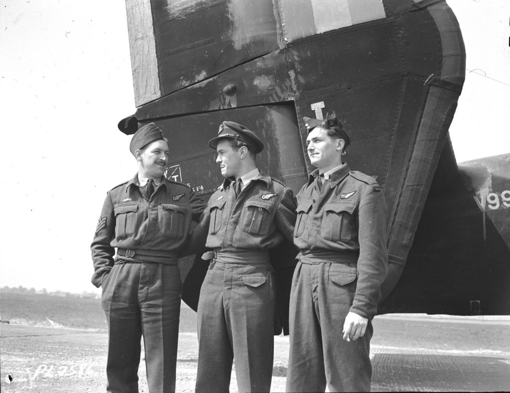 BGen Jack Watts (centre) with two other members of No. 10 Squadron, which flew Halifax bombers: FSgt N.H.