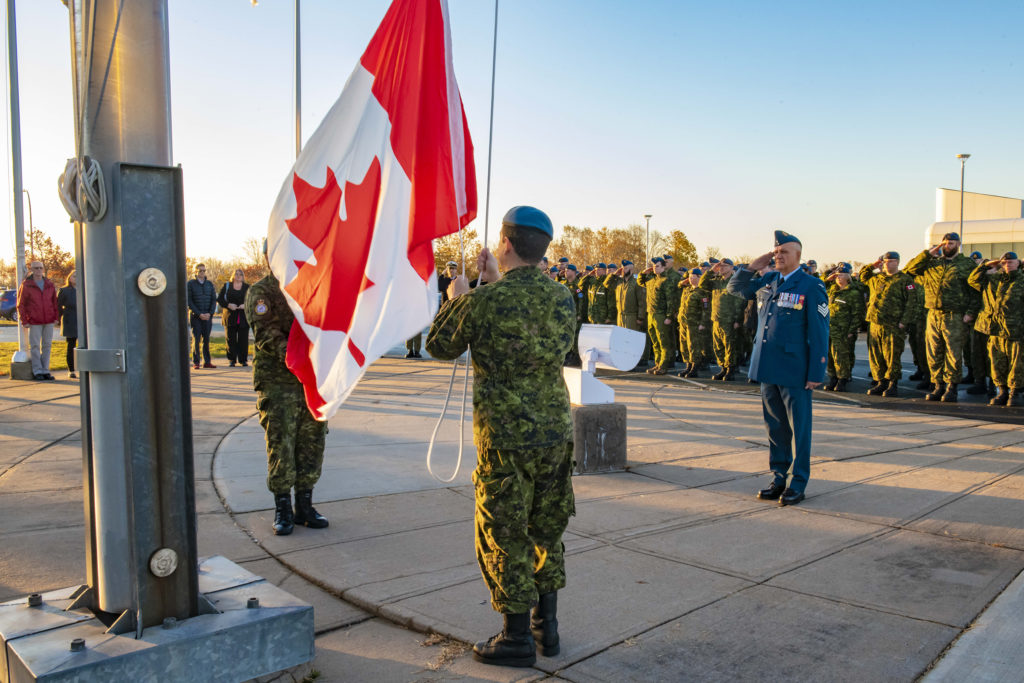 Sgt Tony Parson salutes during his flag-raising ceremony on his last day of Canadian Armed Forces service at 12 Wing Shearwater on Oct. 24, 2019. Olivia Mainville Photo