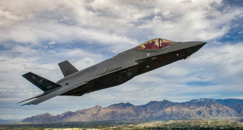 The F-35 Lightning II functions as a mobile electronic information source as well as a fighter, allowing the aircraft to maximize readiness, logistics and maintenance efficiencies through varying technology. USAF Photo