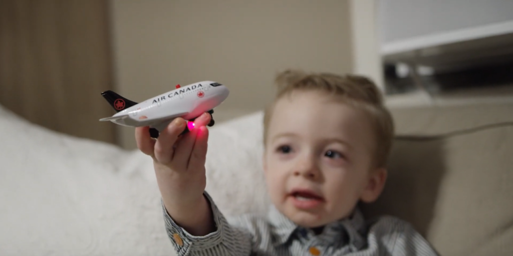 The Air Canada Foundation Hospital Transportation Program helps children like Beckett, a fearless Saskatchewan-born 2.5 year old, who was diagnosed at two months old with infant acute lymphoblastic leukemia. Air Canada Photo