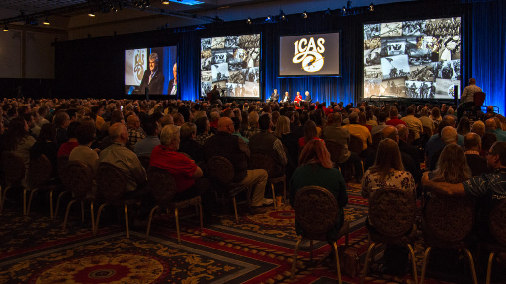 ICAS president John Cudahy welcomes air show professionals from around the world during the opening minutes of the first general session of the ICAS 2019 Convention. Sean Costello Photo