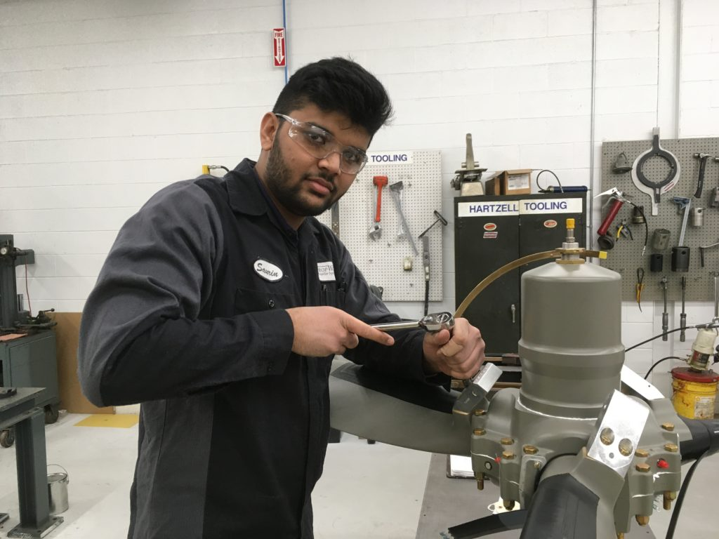 Many of PropWorks' employees come out of the AME stream at school but aren't immediately ready for the job as they generally need one or two years of experience to become proficient with propeller work. PropWorks Photo