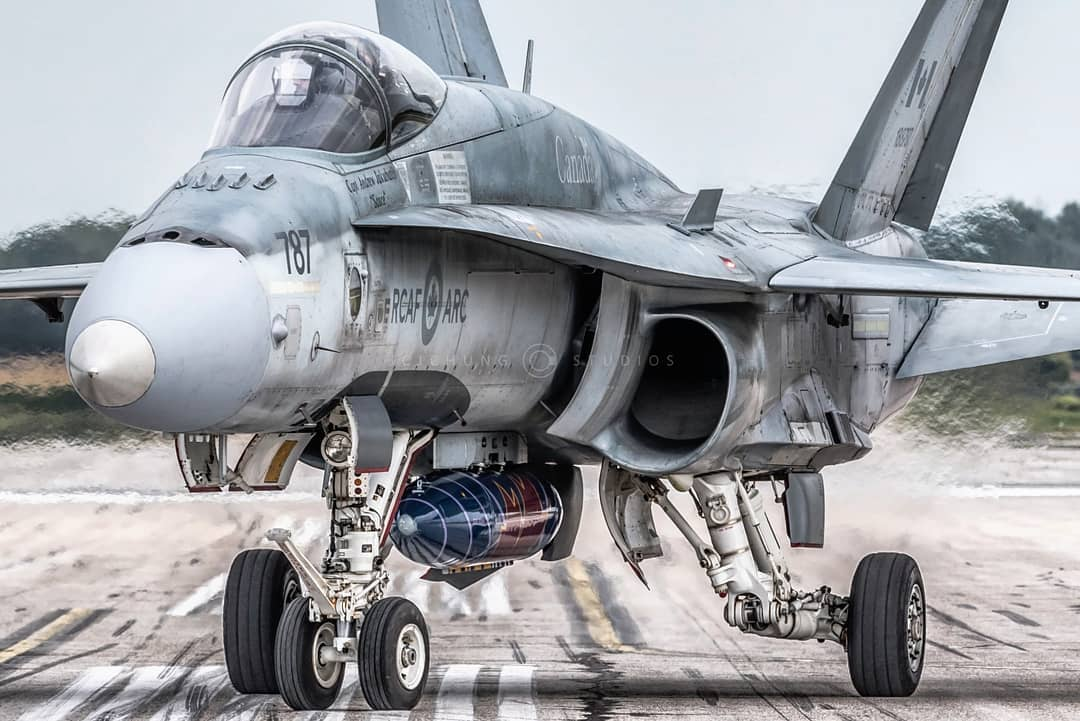 A CF-188 Hornet sits on the ramp ahead of a demonstration at Airshow London. Photo submitted by John Chung (Instagram user @jcjchung) using #skiesmag.