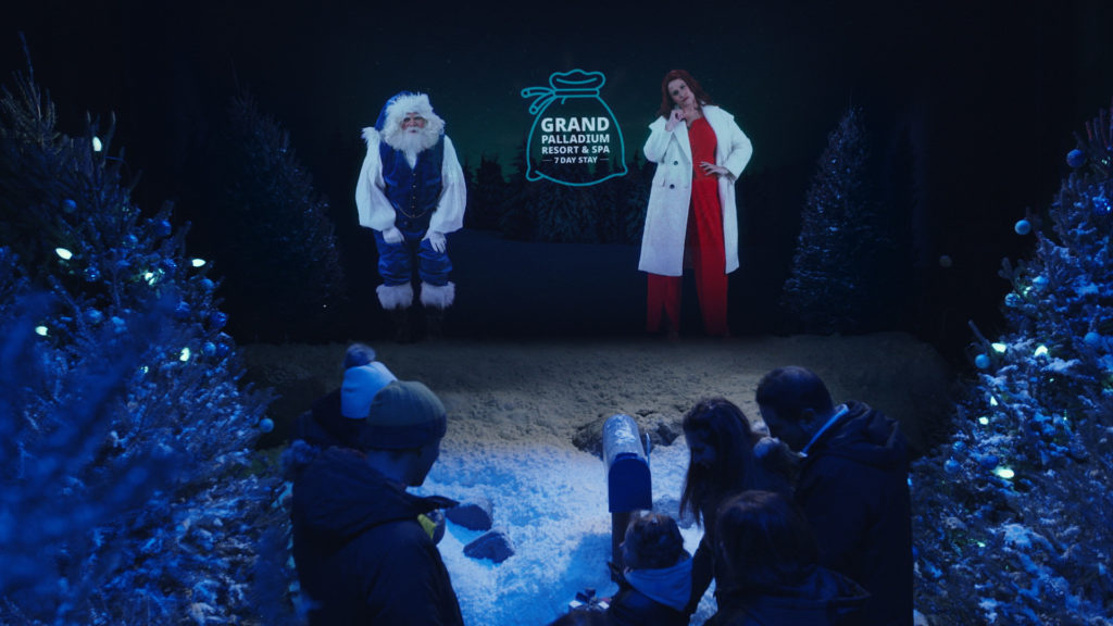 In the interactive display, WestJet left it up to the visiting families, with help from a holographic, interactive Blue Santa and his newest co-star, Ebeniza Scrooge, to determine whether to give or receive the presents waiting under the Christmas tree. WestJet Photo