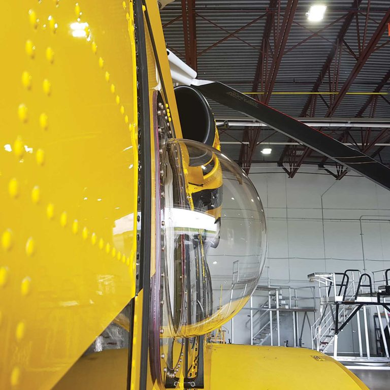 Pictured is a search-and-rescue bubble window on a Sikorsky S-92A, for which the installation kit was designed and STC'd by ICARUS. ICARUS Photo